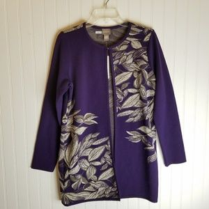 Chico's Purple Floral Long Open Cardigan